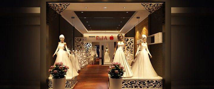 Trang trí cửa hàng áo cưới từ thạch cao